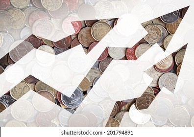 Different countries coins background with growing trends arrows