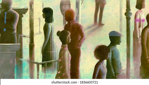 different crowd in the city, people concept, surreal artwork, conceptual art ,lonely in town illustration