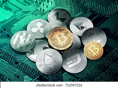 Different cryptocurrencies in a circle with a golden bitcoin in the middle. Different cryptocurrencies concept. 3D illustration