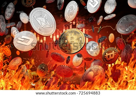 Different cryptocurrency coins are falling into the fire. Decline or market crash concept. 3D rendering