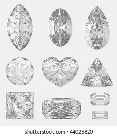 Different cuts of a diamonds. 3d illustration.