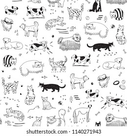 Different doodle cats and dogs seamless pattern.