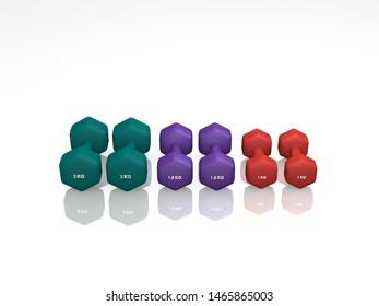 different dumbbells for women. 3d rendering