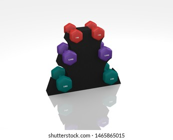 Different dumbbells for women in the stand. 3d rendering