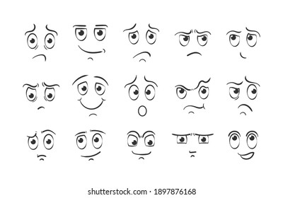 Different facial expressions in doodle style. Set of cartoon face emotions on white background. Expressive eyes and mouth, smiling, crying and surprised character face expressions.