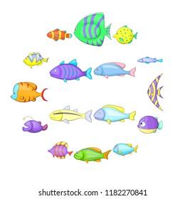 Different fish icons set. Cartoon illustration of 16 different fish icons for web
