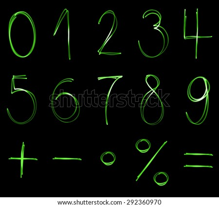 Different Flourescent Numbers Math Symbols Green Stock Illustration
