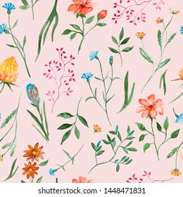 Different flowers watercolor painting - hand drawn seamless pattern with blossom on pink