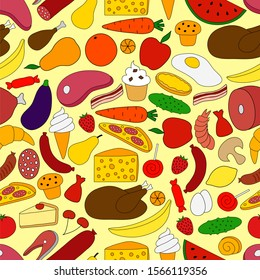 Different Food. Seamless pattern, background.