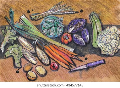 different fresh vegetables,  ink and pencils original drawing on recycle paper
