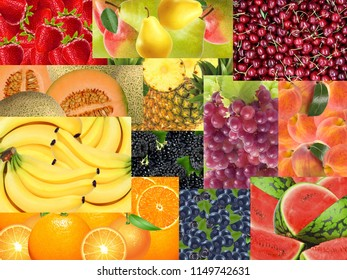 Different fruits with different textures and colors