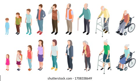 Different generations. Isometric people adult female male characters kids girl boy old man woman human age evolution stages set