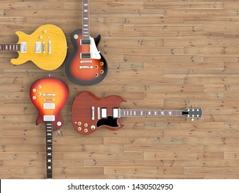 different guitars on wooden floors, viewed from above. 3d image render in style flat lay.
