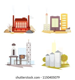 Different industrial factory buildings and plants. Industrial city construction set illustrations