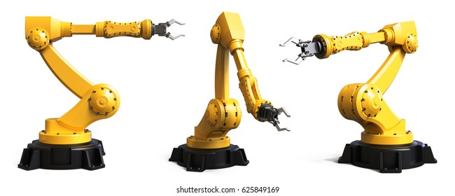 Different industrial robots isolated on white background 3D rendering