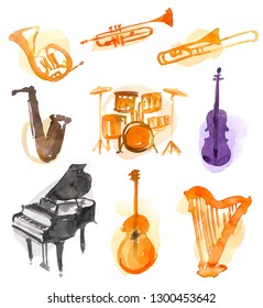 Different instruments isolated on white background. created with watercolor look.
