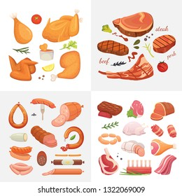 Different kind of meat food icons set . Raw ham, set grill chiken, piece of pork, meatloaf, whole leg, beef and sausages.