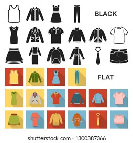 Different kinds of clothes flat icons in set collection for design. Clothes and style bitmap symbol stock web illustration.