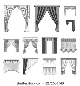 Different kinds of curtains monochrome icons in set collection for design. Curtains and lambrequins bitmap symbol stock web illustration.