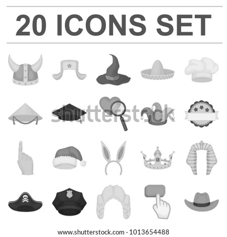 16527430f052e Different kinds of hats monochrome icons in set collection for design.Headdress  bitmap symbol stock