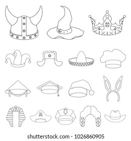 501db8e10873f Different kinds of hats outline icons in set collection for design.Headdress  bitmap symbol stock