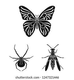 Different kinds of insects black icons in set collection for design. Insect arthropod bitmap symbol stock web illustration.