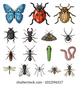 Different kinds of insects cartoon icons in set collection for design. Insect arthropod bitmap symbol stock web illustration.