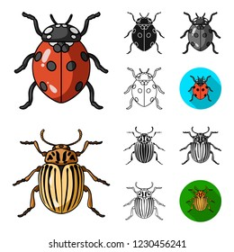 Different kinds of insects cartoon,black,flat,monochrome,outline icons in set collection for design. Insect arthropod bitmap symbol stock web illustration.