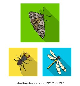 Different kinds of insects flat icons in set collection for design. Insect arthropod bitmap isometric symbol stock web illustration.