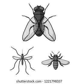 Different kinds of insects monochrome icons in set collection for design. Insect arthropod bitmap symbol stock web illustration.