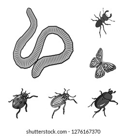 Different kinds of insects monochrome icons in set collection for design. Insect arthropod bitmap isometric symbol stock web illustration.