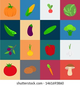 Different kinds of vegetables cartoon icons in set collection for design. Vegetables and vitamins bitmap symbol stock web illustration.