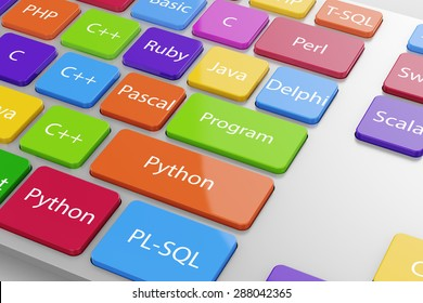 Different machine code languages programming button on the computer keyboard. 3d illustration
