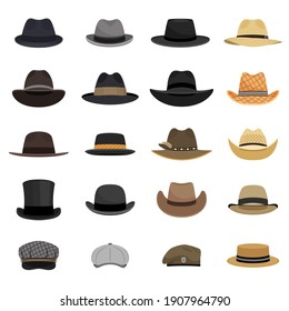 Different male hats. Fashion and vintage man hat collection image, derby and bowler, cowboy and peaked cap, tyrolean and summer straw hat, military beret