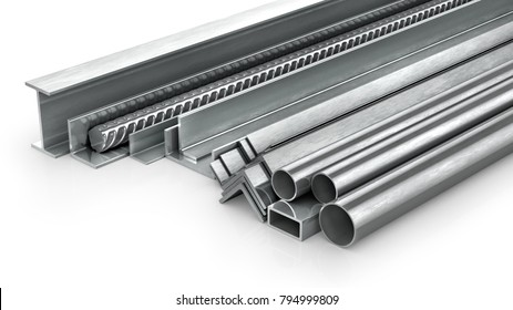 Different metal products. Metal profiles and tubes. 3d illustration