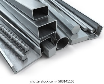 Different metal products. Stainless steel profiles and tubes. 3d illustration.
