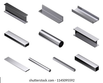 Different metal rolled profile. Isolated on white background. 3D rendering illustration. Isometric projection.