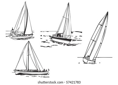 Different models and different speeds of the boats sailing