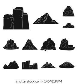 Different mountains black icons in set collection for design.Mountains and landscape bitmap symbol stock web illustration.
