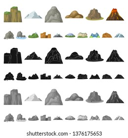 Different mountains cartoon icons in set collection for design.Mountains and landscape bitmap symbol stock web illustration.
