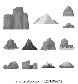 Different mountains monochrome icons in set collection for design.Mountains and landscape bitmap symbol stock web illustration.