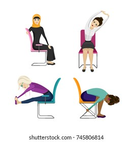 Different nationality business women are doing exercises in the office. Women are sitting on the office chair. Flat style collection. Raster illustration set.