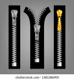 Different Open And Closed Zippers Set . Different Gold And Silver Metallic Fasteners And Zippers. Garment Components And Handbag Accessories. Grey Background Isolated 3d Illustration