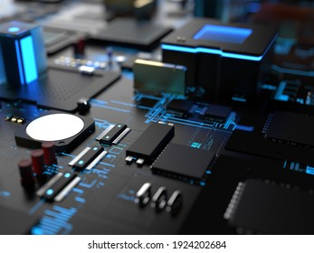 different parts of computer chips and transistors. 3d render on the topic of technology