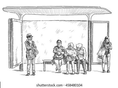 Woman Bus Stop Stock Illustrations Images Vectors Shutterstock
