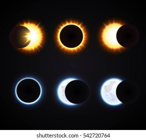 Different phases of sun and moon eclipse cartoon icons set on dark background isolated  illustration
