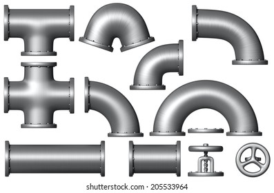 Different  pipe set. Industrial illustration. Added clipping path