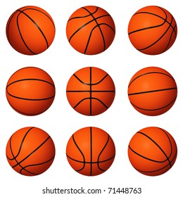 Different positions of basketballs isolated on white background.