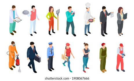 Different professions. Isometric professionals collection. 3D people doctor policeman businessman builder military waiter cook