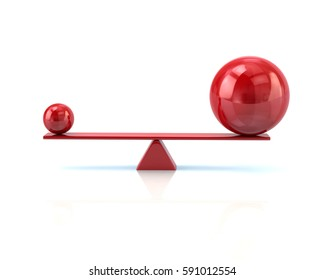 Different red spheres balancing on a seesaw 3d illustration isolated on white background
